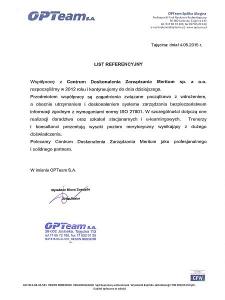 List referencyjny Opteam S.A. ISO 27001, wieloletnia współpraca