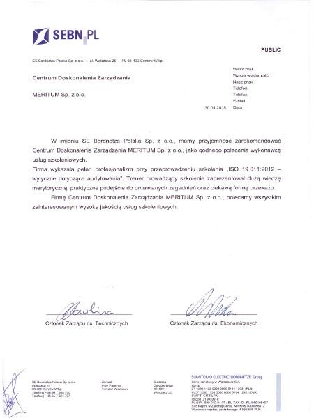 List referencyjny SE Bordnetze Polska