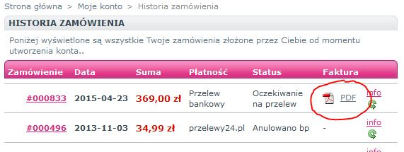 Historia zamówień w sklepie e-doskonalenia.pl