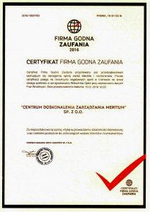 Certyfikat Firma Godna Zaufania Centrum Doskonalenia Zarządzania Meritum