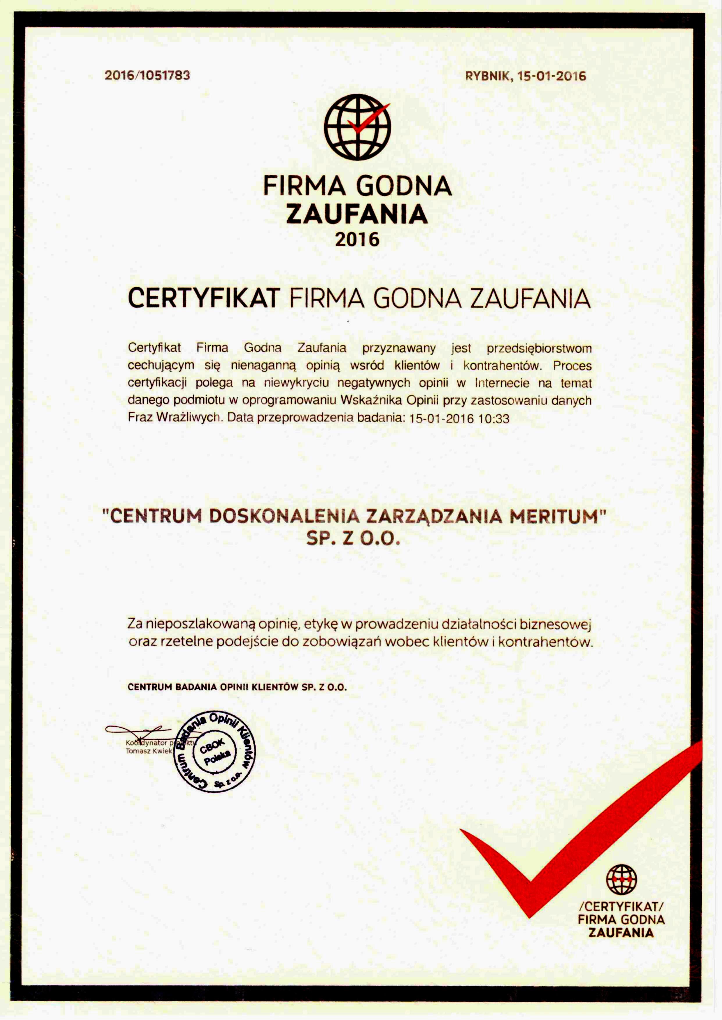 Firma Godna Zaufania!